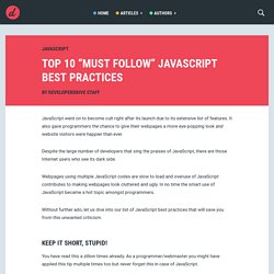 "Top 10 ""Must Follow"" JavaScript Best Practices 