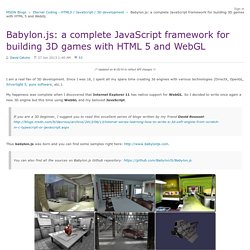 Babylon.js: a complete JavaScript framework for building 3D games with HTML 5 and WebGL - Eternal Coding - HTML5 / JavaScript / 3D development