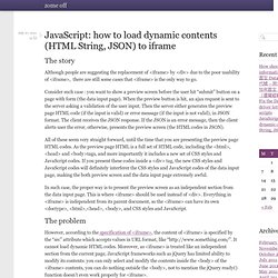 JavaScript: how to load dynamic contents (HTML String, JSON) to iframe – zome offzome off