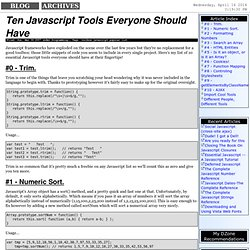 Ten Javascript Tools Everyone Should Have