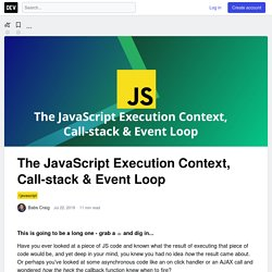 The JavaScript Execution Context, Call-stack & Event Loop - DEV