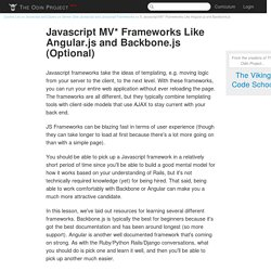 Javascript MV* Frameworks Like Angular.js and Backbone.js