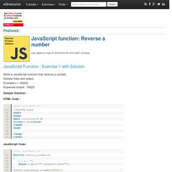 JavaScript function: Reverse a number
