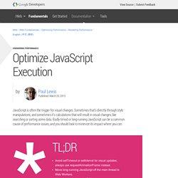 Optimize JavaScript Execution — Web Fundamentals