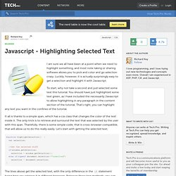 Javascript - Highlighting Selected Text