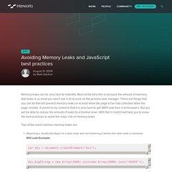 Avoiding Memory Leaks and JavaScript best practices