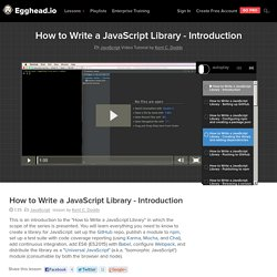 How to Write a JavaScript Library - Introduction - JavaScript Video Tutorial #free