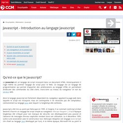 Javascript - Introduction au langage Javascript
