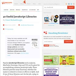 40 Useful JavaScript Libraries | Developer's Toolbox | Smas