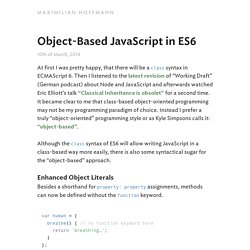 Object-Based JavaScript in ES6