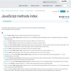 JavaScript methods index