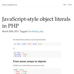 JavaScript-style object literals in PHP