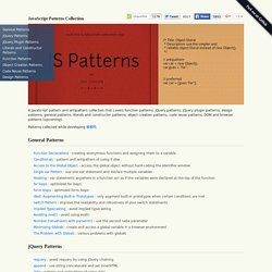 JavaScript pattern and antipattern collection