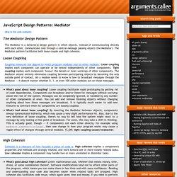 JavaScript Design Patterns: Mediator - arguments.callee