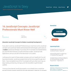 16 JavaScript Concepts JavaScript Professionals Must Know Well