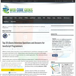Top 20 jQuery Interview Questions and Answers for JavaScript Programmers