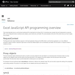 Office Dev Center - Docs - Excel JavaScript API programming overview