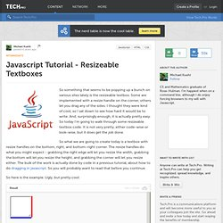 Javascript Tutorial - Resizeable Textboxes