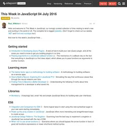 This Week in JavaScript 04 July 2016 - JavaScript - The SitePoint Forums