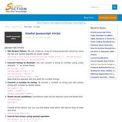 JavaScript useful tricks for developers - StudySection Blog