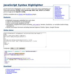 JUSH - JavaScript Syntax Highlighter