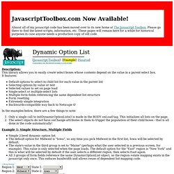 JavaScript Toolbox - Dynamic Option List