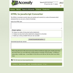 HTML to JavaScript convertor - Transforms blocks of HTML into JavaScript document.write() statements | Developer Tools