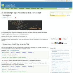 21 JavaScript Tips & Tricks for JavaScript Developers