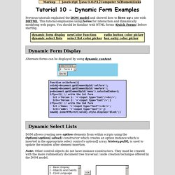 JavaScript Tutorial 10 - Dynamic Form Examples