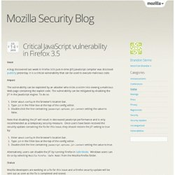 Critical JavaScript vulnerability in Firefox 3.5 at Mozilla Se