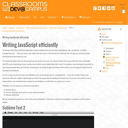 JAVASCRIPT_FREE_SAMPLE: Writing JavaScript efficiently