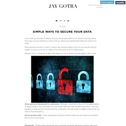 SIMPLE WAYS TO SECURE YOUR DATA