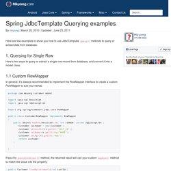 Spring JdbcTemplate Querying examples