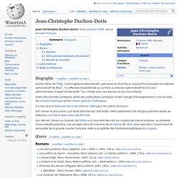 Jean-Christophe Duchon-Doris : Biographie et Bibliographie -Wikipedia