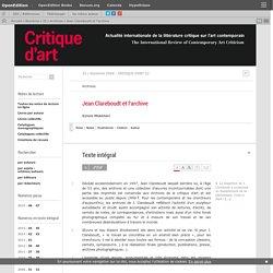 Jean Clareboudt et l'archive