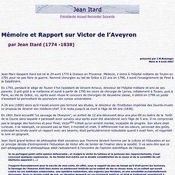 Jean Itard Mémoire Victor de l'Aveyron