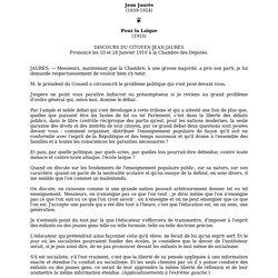 Jean Jaurès : Pour la Laïque (1910)