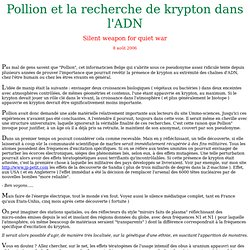 Jean Pollion et la recherche du krypton dans l'ADN
