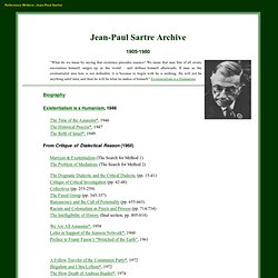 The Jean-Paul Sartre Internet Archive