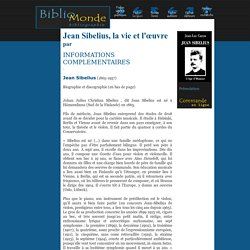 Jean Sibelius, la vie et l'oeuvre - bibliomonde.com