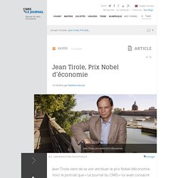 Jean Tirole, Prix Nobel d'économie