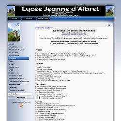 Lycée Jeanne d'Albret - Lectures d'Eté en Français 2des, 1ères et Tles
