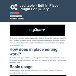 Jeditable - Edit In Place Plugin For jQuery