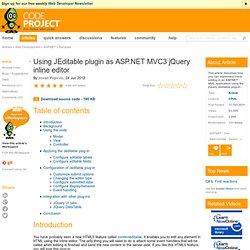 ASP.NET MVC3 JQuery inline editor