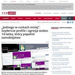 """""""Jednego Pedała w rurkach mniej"""", po samobójstwie 14-latka Dominika Szymańskiego przemoc trwa w sieci - tvp.info"""