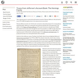 Traces from Jefferson's Account Book: The Hemings Family