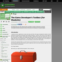 Anna Jenelius's Blog - The Game Developer's Toolbox (for Students)