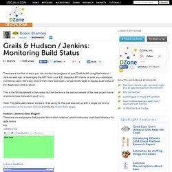 Grails & Hudson / Jenkins: Monitoring Build Status