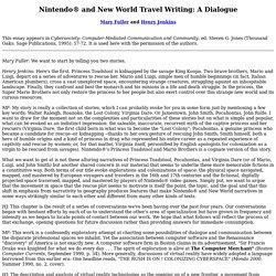 Fuller & Jenkins: Nintendo and New World Travel Writing