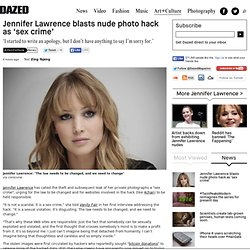Jennifer Lawrence blasts nude photo hack as 'sex crime'